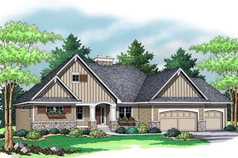 Craftsman Style House Plan - 1 Beds 1.5 Baths 2109 Sq/Ft Plan #51-353 Exterior - Front Elevation - Houseplans.com
