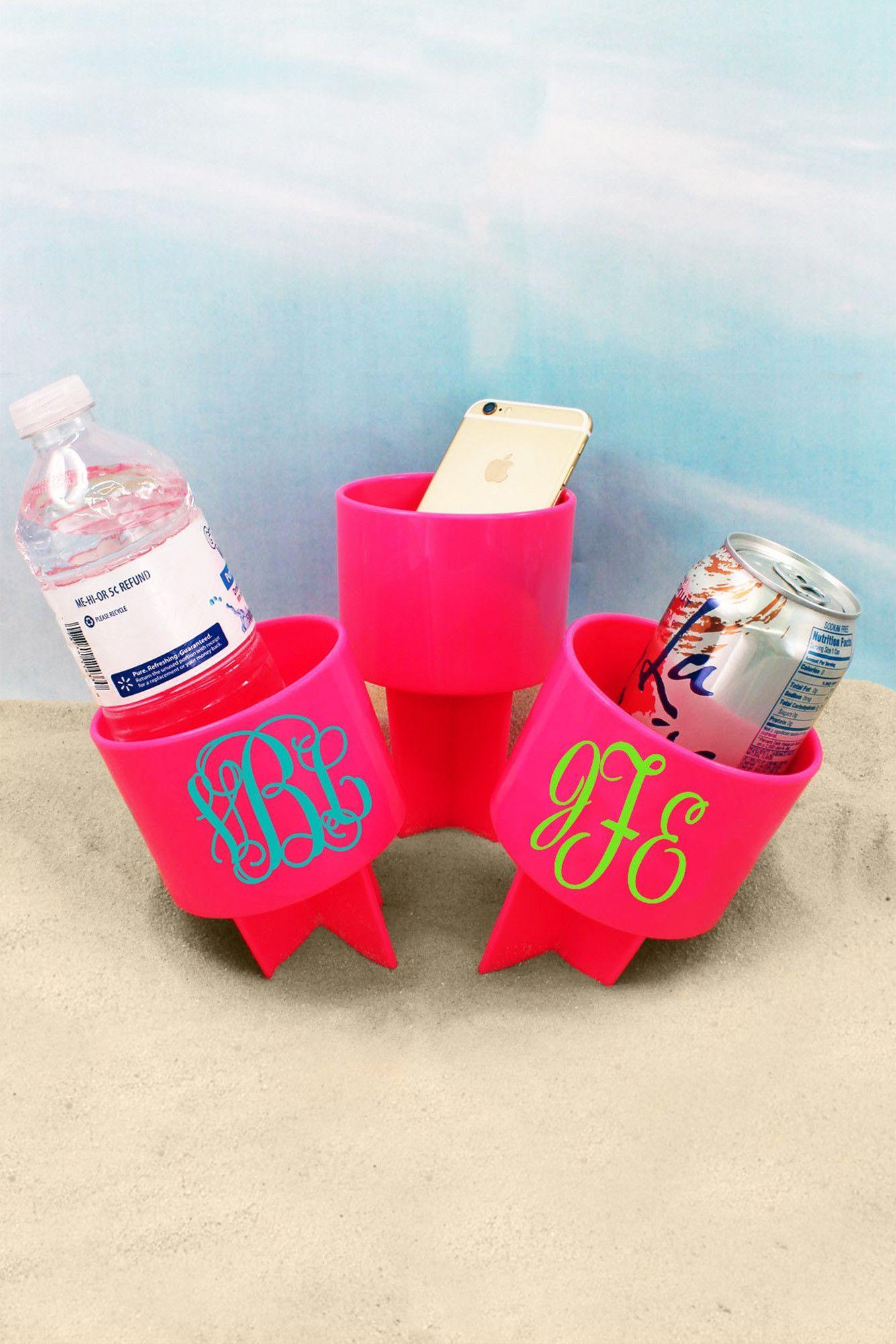 3 Initial Monogram Strawberry Spiker Beach Beverage Holder 1272