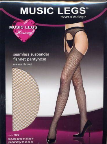 8e30dbb65f5c2 MU 903 Pantyhose Fishnet Suspender Stockings Regular or XL Queen Black or  Nude | eBay