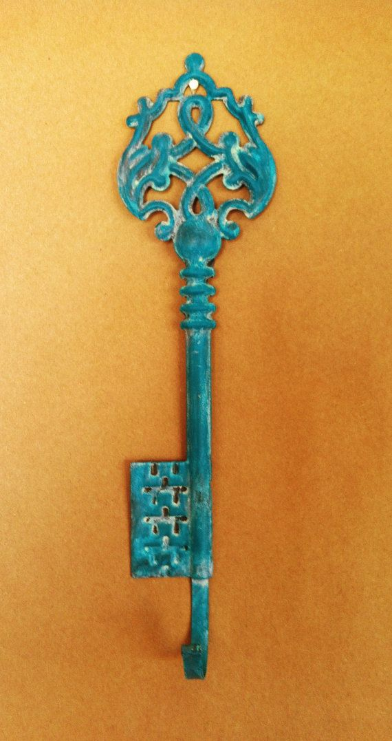 Turquoise Decorative Key Wall Hook... cute to hang jewelry   For ...