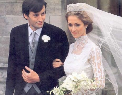 Noblesse & Royautés:  Wedding of The Honorable Norton Knatchbull, Lord Romsey (now 8th Baron Brabourne and grandson of the Earl Mountbatten), and Penelope Eastwood, October 20, 1979.  The bride wore the Mountbatten Star Tiara.
