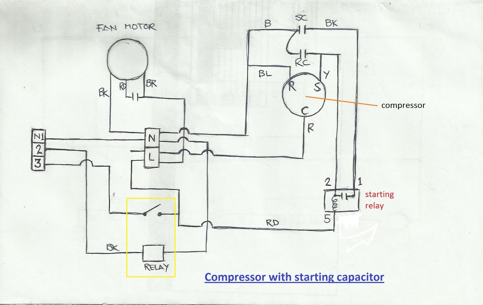 hight resolution of refrigeration and air conditioning repair wiring diagram of at fridge compressor ac capacitor air conditioner