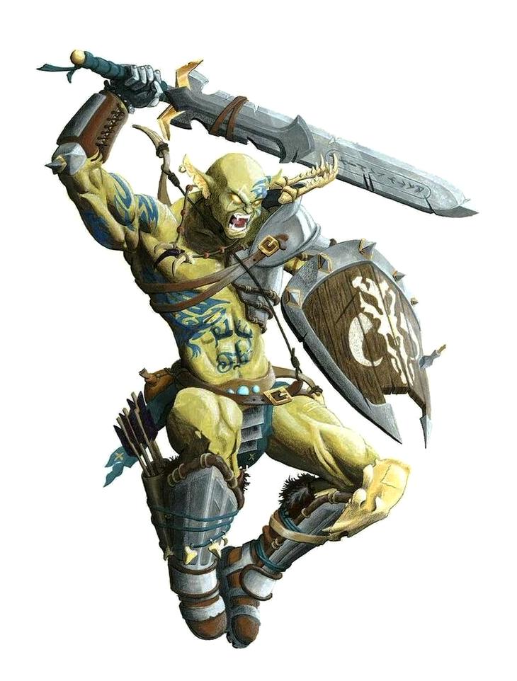 Male Hobgoblin Orc Sword Shield Fighter - Pathfinder PFRPG ...