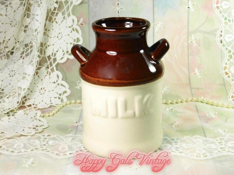 Ceramic Milk Bottle Vase Ceramic Milk Jug Vase Ceramic Brown Etsy Milk Bottle Vases Milk Bottle Bottle Vase
