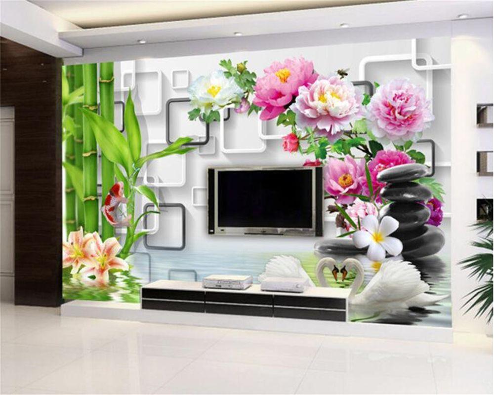 Beibehang Hd Custom 3d Wallpaper Mural Bamboo Koi Lily Home  -> Papel De Parede Para Sala Rock N Roll