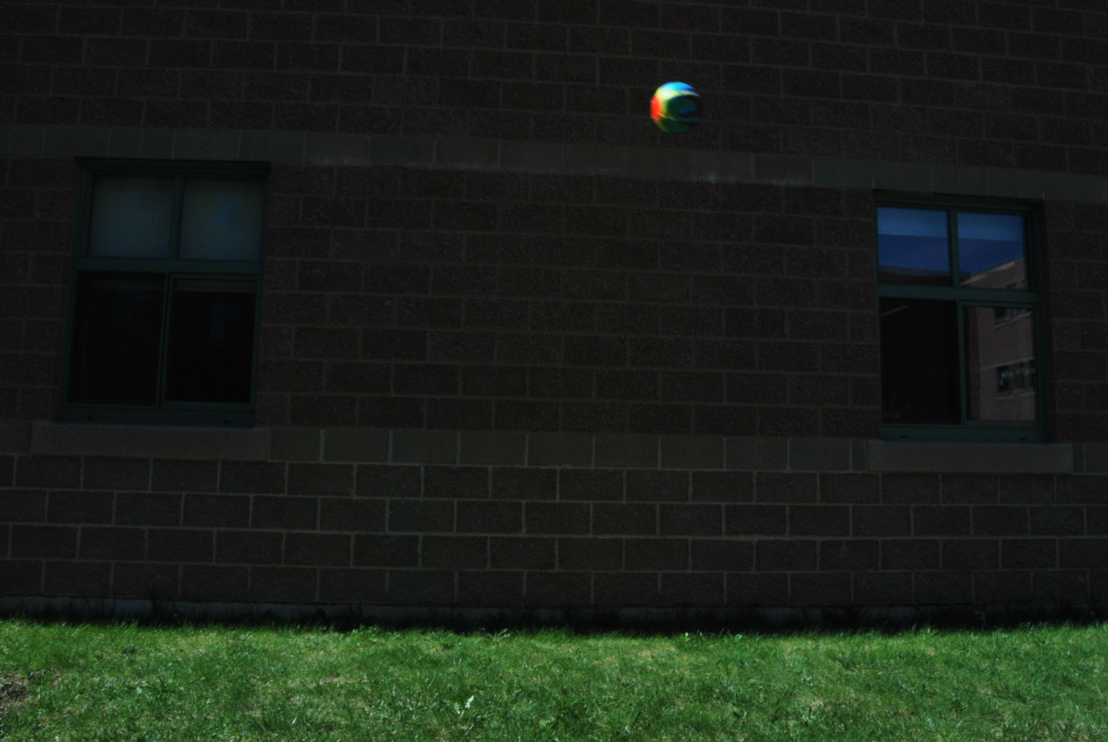This is my stop action picture. It shows how the ball is stopped in the air when it was in action when it was taken. I brightened it because it was orignially very dark.