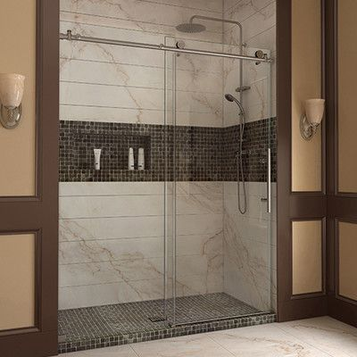 """DreamLine Enigma-X 60"""" x 32"""" x 78.75"""" Rectangle Shower Enclosure Drain Location: Left, Trim Finish: Brushed Stainless Steel"""
