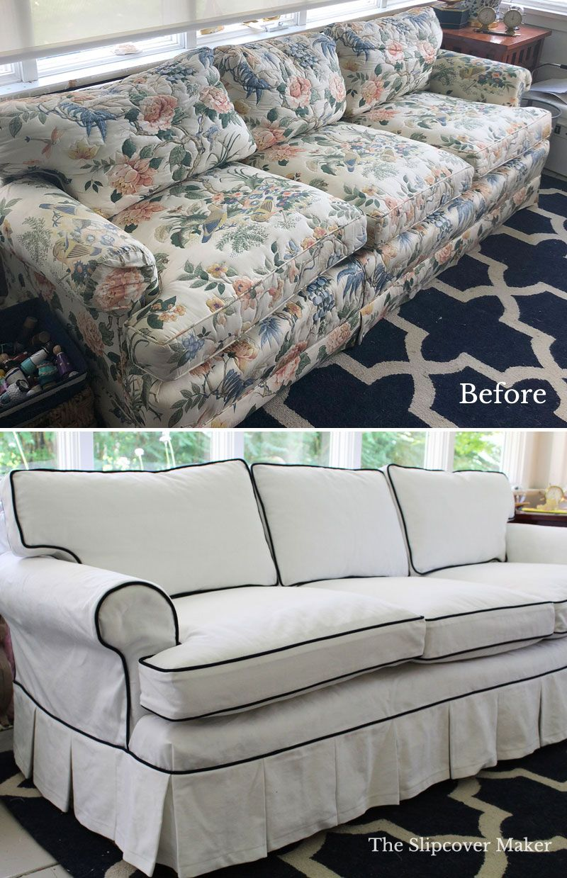 White Denim Slipcover With Navy Welt Trim And Box Pleat Skirt A Super Makeover For This Outdated Henred White Slipcover Sofa Cushions On Sofa Slipcovered Sofa