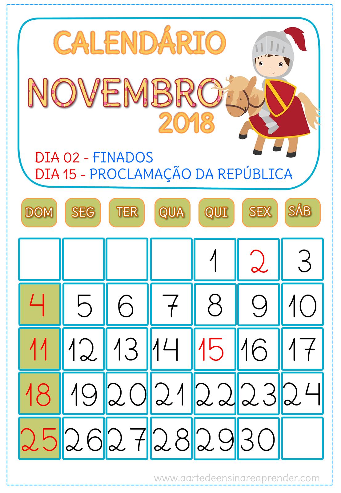 Calendário NOVEMBRO 2018 | novos | Pinterest | Montessori ...