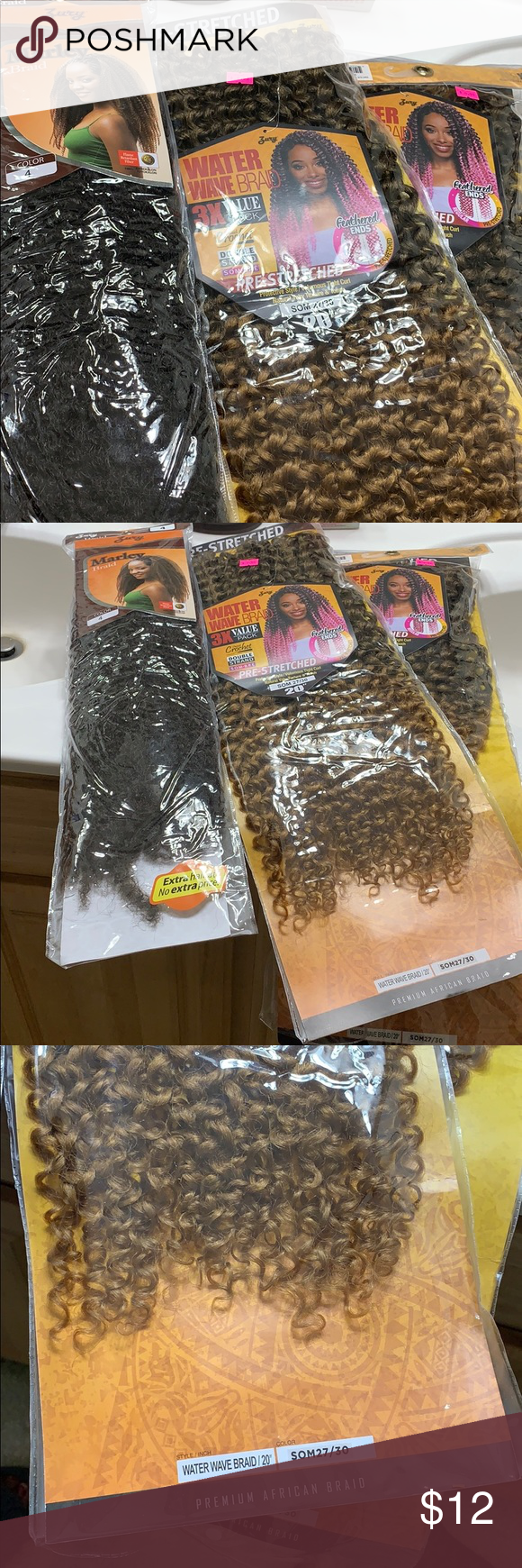 Brand new braid or crochet hair Never taken out the bag three packs of hair for  Brand new braid or crochet hair Never taken out the bag three packs of hair for