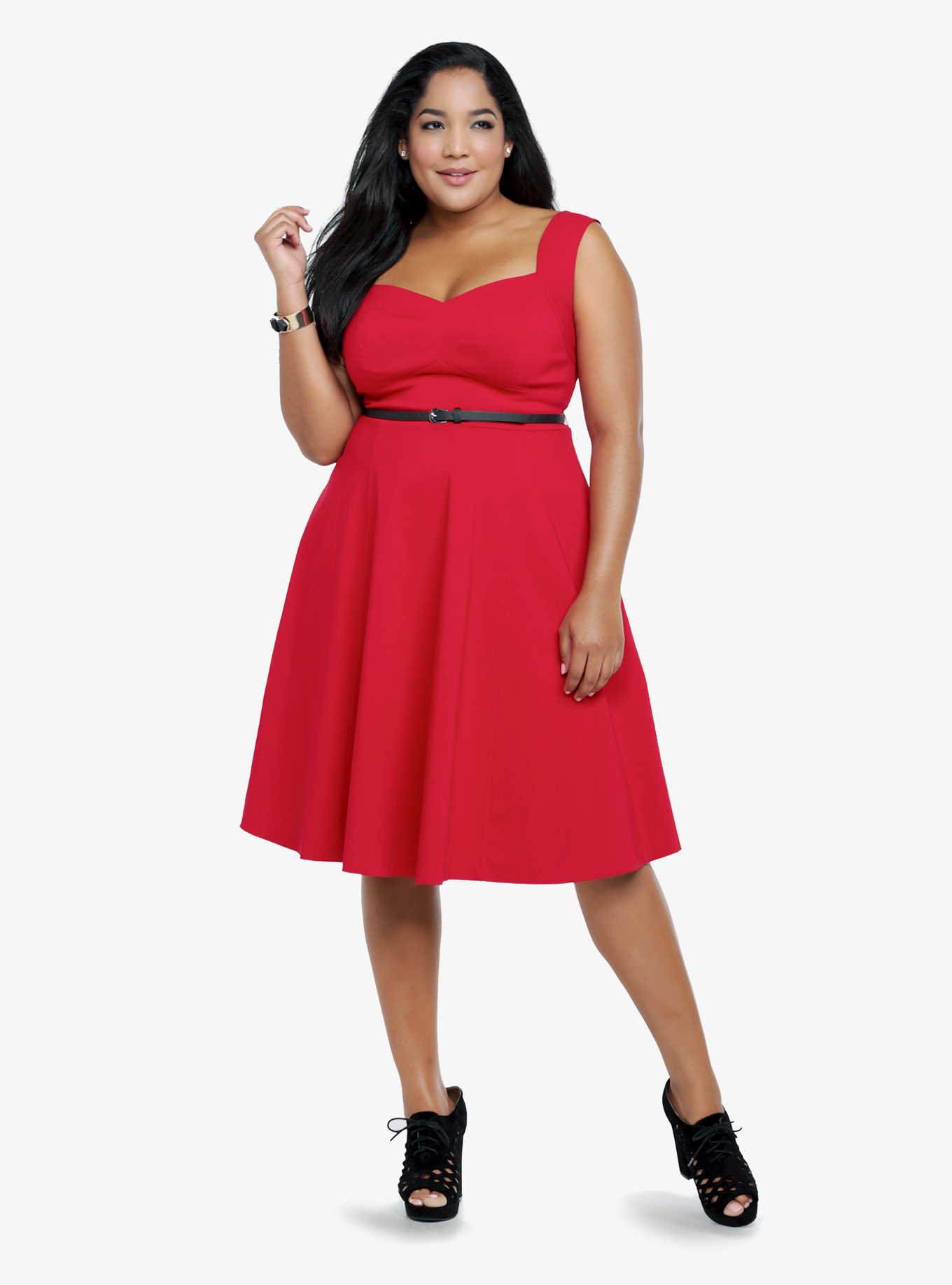 9c59c818b8 This flirty swing dress really stuns in traffic stopping ruby red. Below  the sweetheart neckline