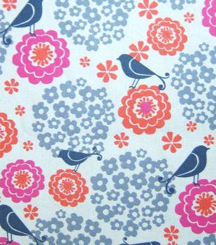 Keepsake Calico Fabric Birds Flowers On Beige Cute For Nursery Curtains