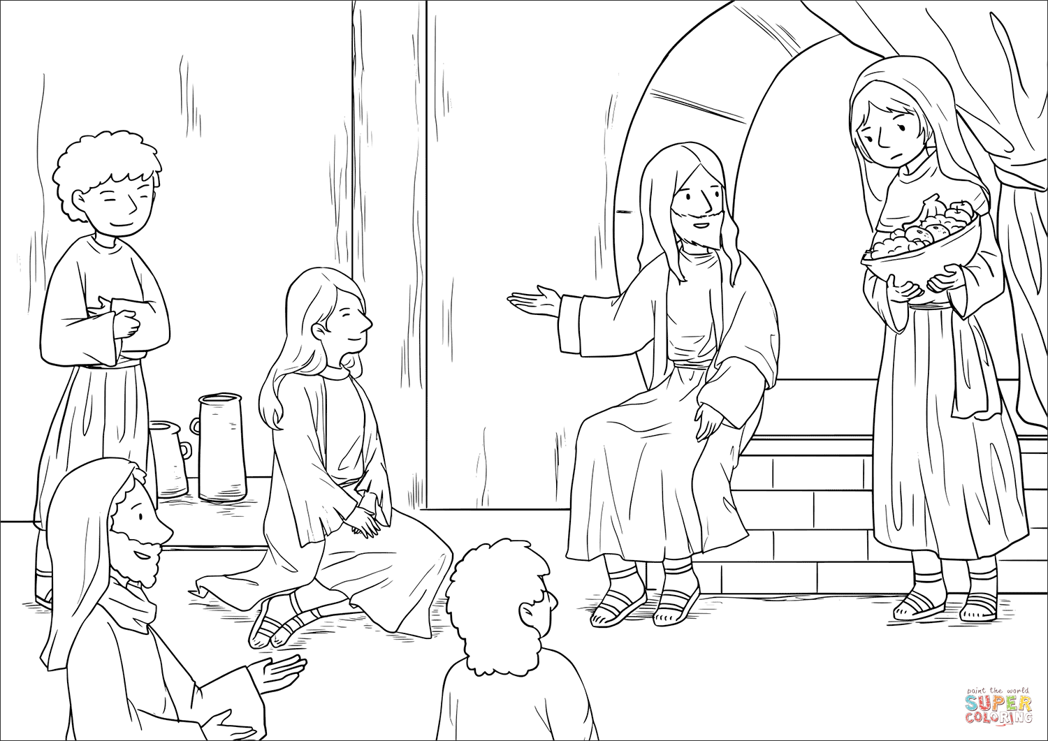 Jesus at the home of martha and mary luke 1038 42 coloring page free printable coloring pages