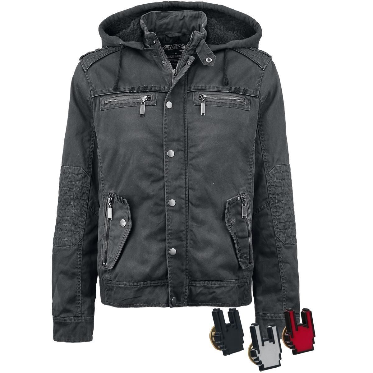 """EMP Black Premiumin komea """"Joey""""-takki. Takki suojatulla vetoketjulla, epoleteilla ja tikatuilla kyynärpaikoilla. Takki 100% puuvillaa, vuori ja täytteet 100% polyesteria. Huppu collegekangasta, 80% puuvillaa ja 20% polyesteria. Teddyvuori on 100% polyesteria."""