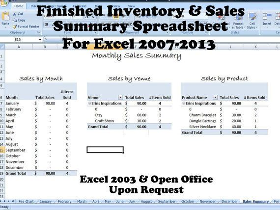 Finished Inventory and Sales Summary Spreadsheet - Multi Venue Fee - inventory worksheet template
