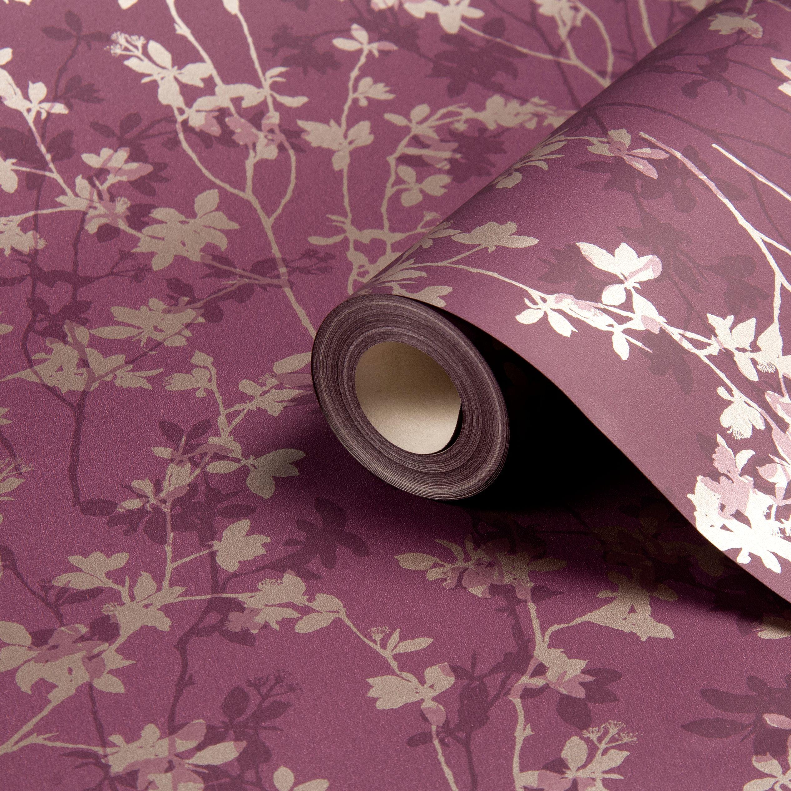 Morning Shadow Plum Wallpaper Departments Diy At B Q Plum Wallpaper Purple Bedroom Design Diy Wallpaper