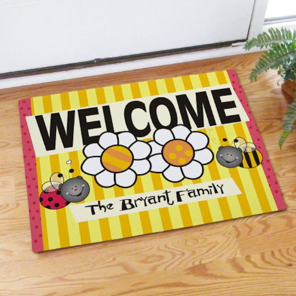 Personalized Welcome Bee And Bug Doormat 36 AUD Liked On Polyvore Featuring Home Outdoors Outdoor Decor Floor Rugs Living Silver
