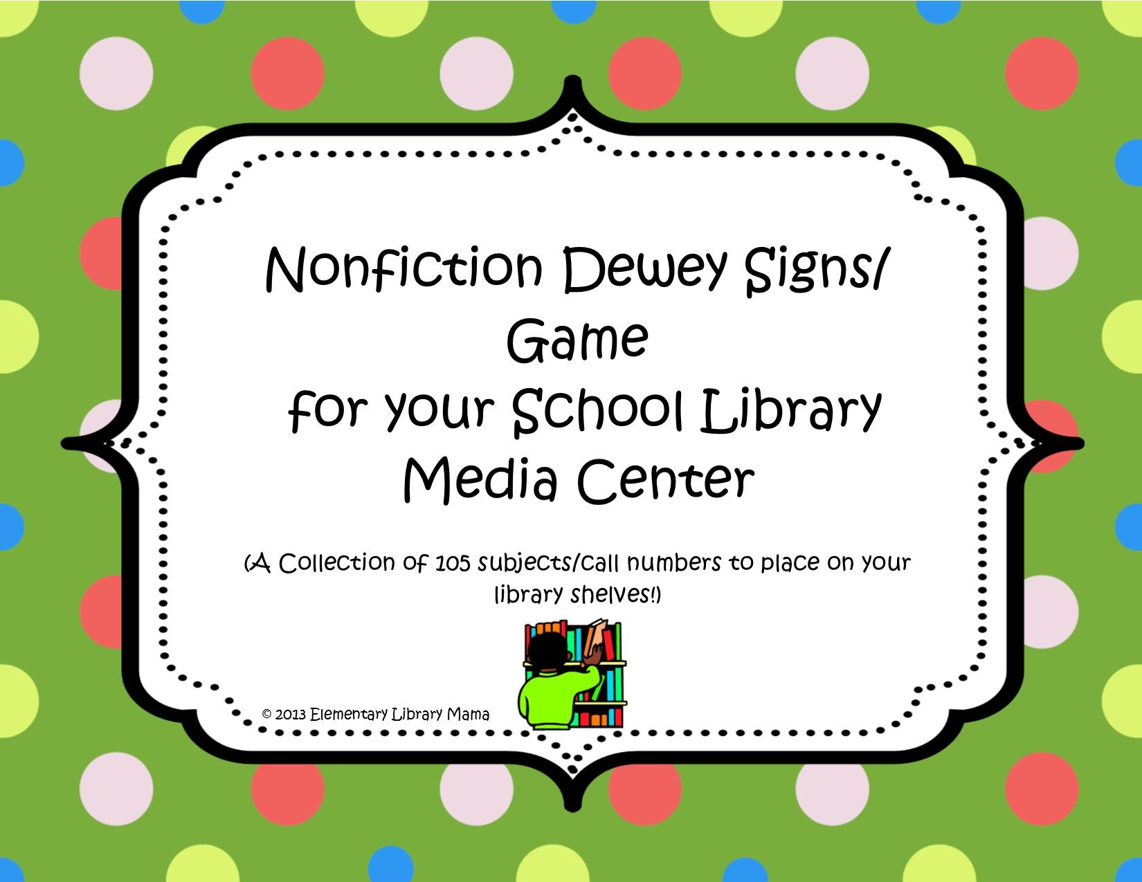 Nonfiction Dewey Signs Game For Your School Library Media