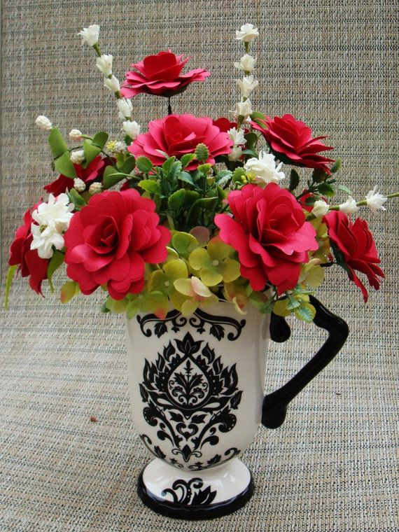 Paper Flower arrangement  Red   in a  Large by SweetPeasFlorals, $25.00