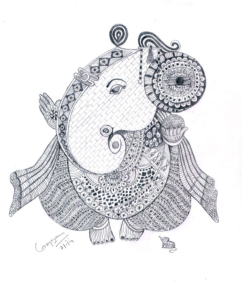 Doodles art vinayagar pen sketch art sketches drawing for kids ganesha deities