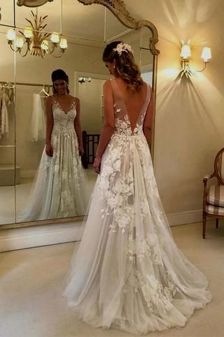 Elegant A-line V-neck Tulle Ground Length WEDDING GOWNS With Lace Appliques OKC94 – Okdresses