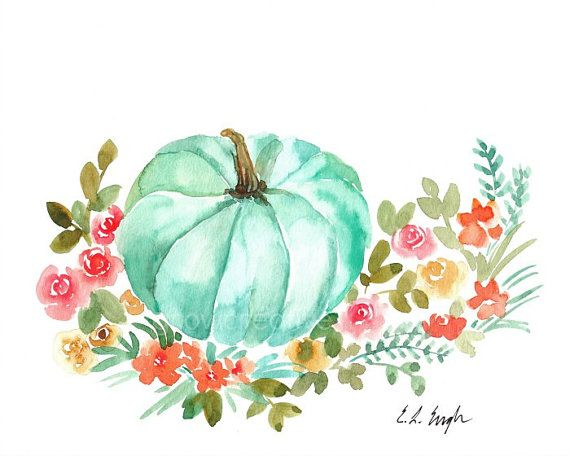 Watercolor Fall Pumpkin With Flowers 8x10 Mint By Growcreativeshop