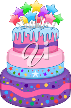 Vector Illustration Of 3 Floors Birthday Cake With Colorful Stars On Top Birthday Clipart Cake Drawing Birthday