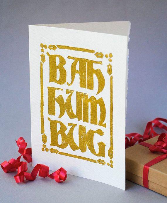 Gold Bah Humbug Christmas Card by CursiveArts on Etsy, | Christmas ...