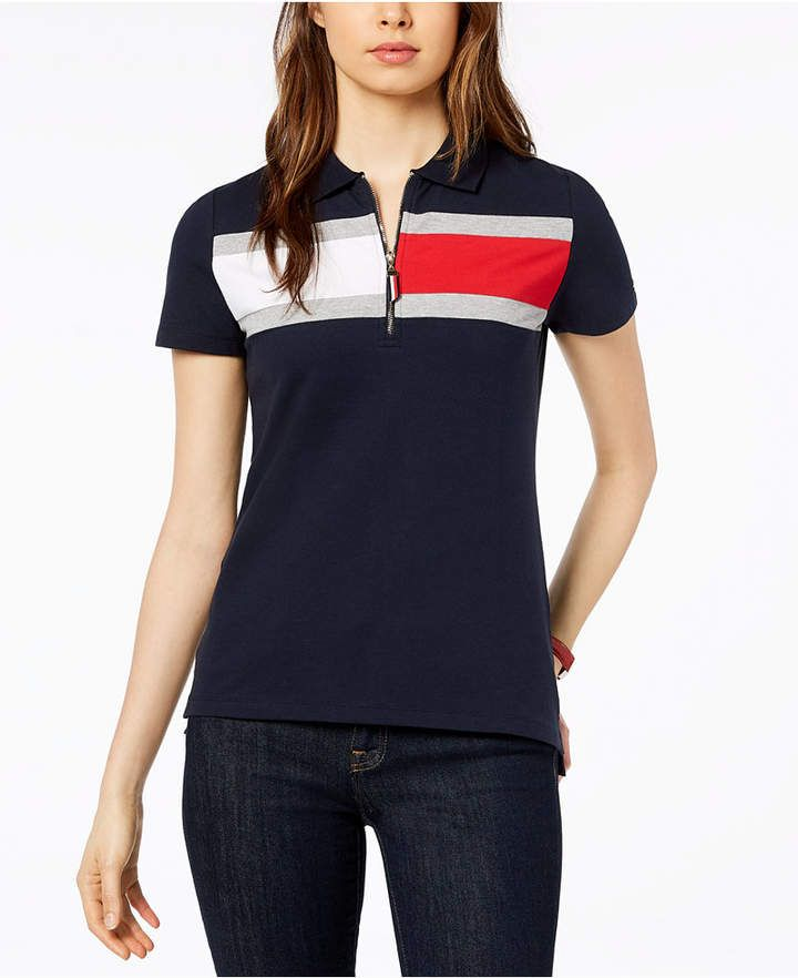 Tommy Hilfiger Short Sleeve Slim Polo Stripe Mujer