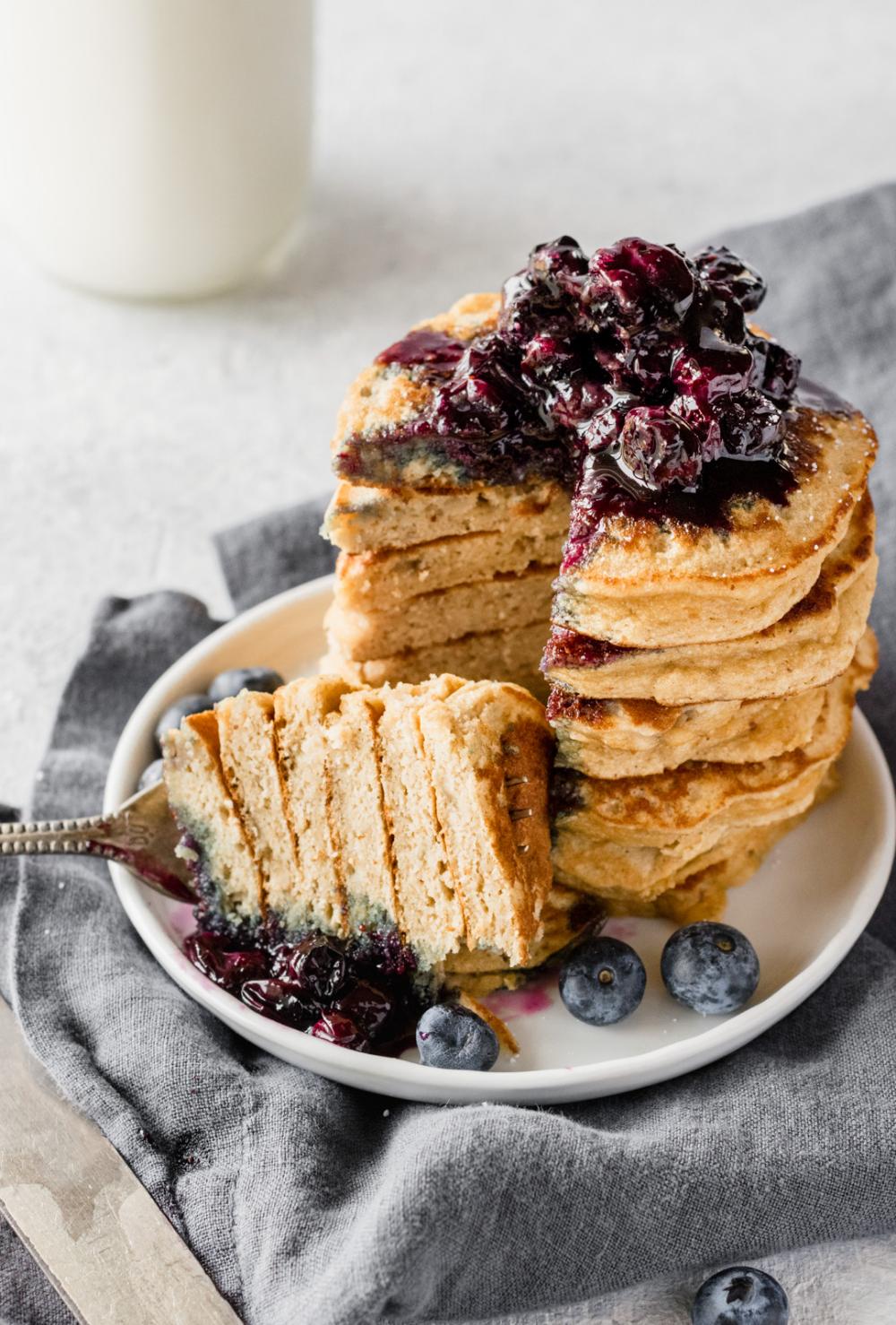 The Best Fluffy Coconut Flour Pancakes Ambitious Kitchen Recipe Coconut Flour Pancakes Coconut Flour Coconut Flour Recipes