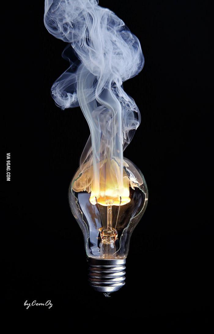 Light Bulb With A Broken Glass Burning In 2020 Light Bulb Art