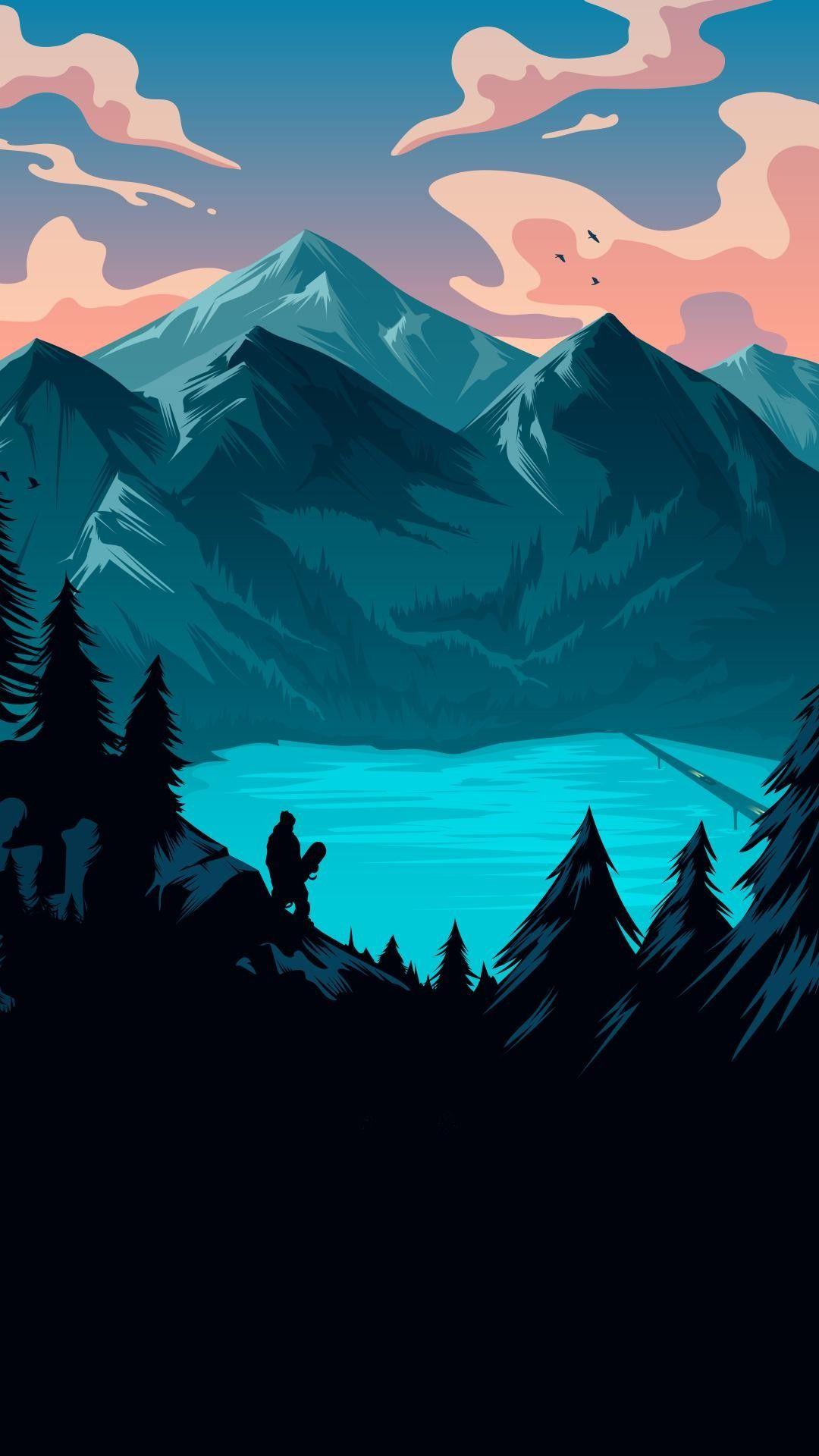 Lago / montañas / minimalista / / Fondos de pantalla