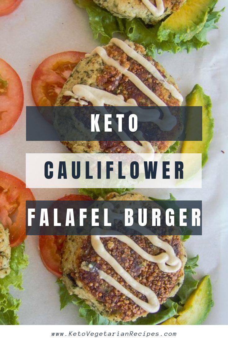 Una hamburguesa de falafel de coliflor vegetariana baja en carbohidratos. También es libre de gluten, vegano ...