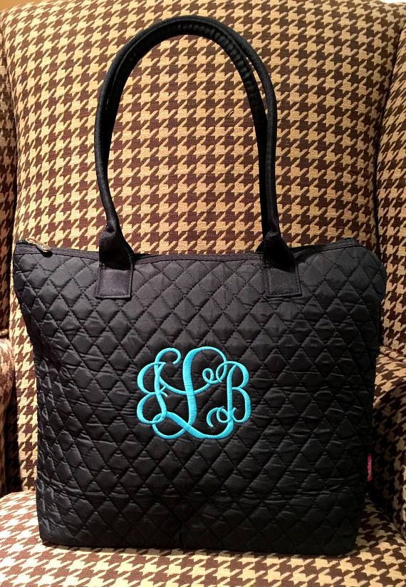 Personalized Ladies Tote - Quilted Monogrammed Luggage - Tote - Travel Tote  - Carryall Bag - Day Tot 7d0b7cf0f2213
