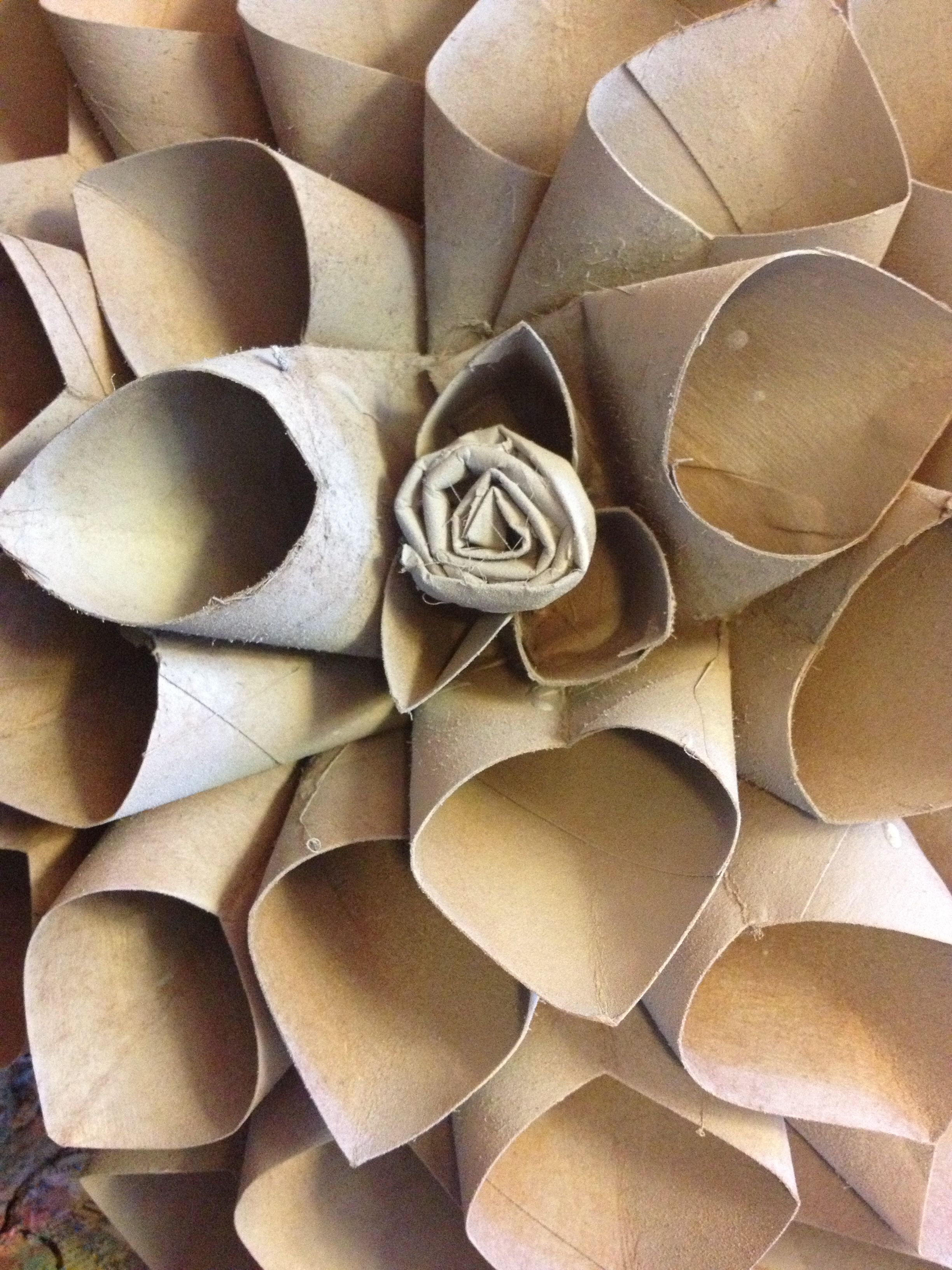 Tp toilet paper rolls to wall art simplecreative me for Toilet paper roll art ideas