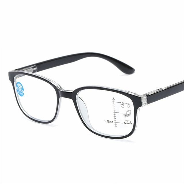 76265a3245 Progressive Multifocal Reading Glasses Men Women Square Anti blue light  Glasses Frame Near Far Sight Diopter 1.0 1.5 2.0 2.5 3.0 Review