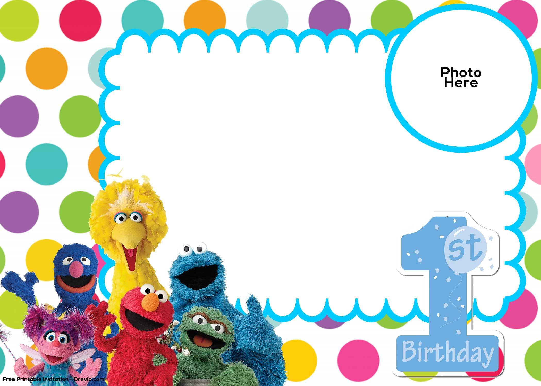 Free Sesame Street 1st Birthday Invitation Template | Drevio ...