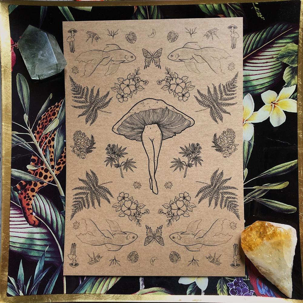 Multi Botanical Mushroom Lady Tattoo Flash Nature Print A5 -   12 plants Pattern tattoo ideas