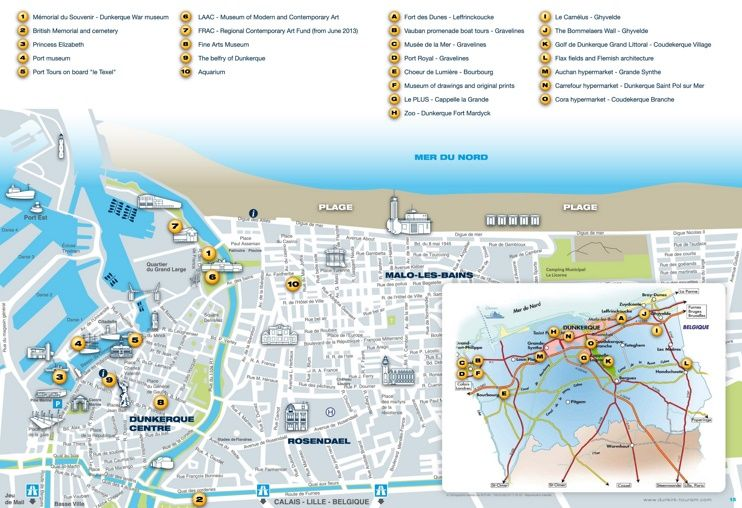 Dunkirk tourist map Maps Pinterest Tourist map France and City