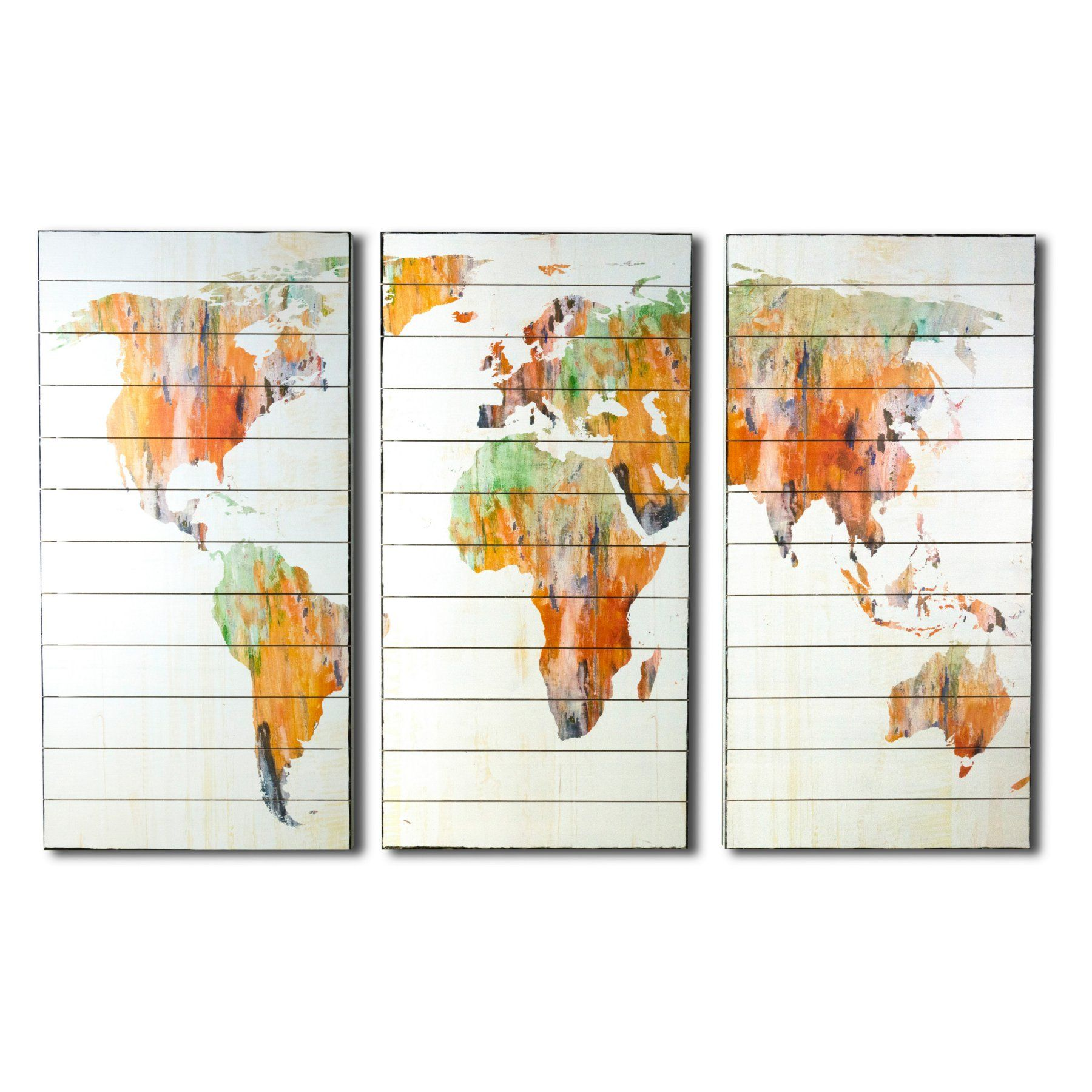 Gallery world map abstract triptych on planked wood sb