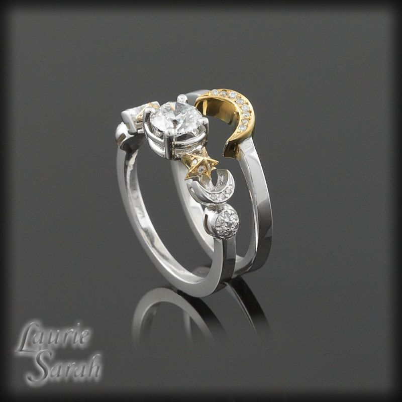 crescent diamond spinel or gold engagement moon with palladium ring rose white small rings cut black media