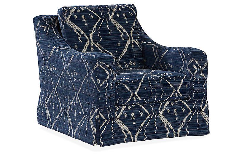 Hattie Skirted Club Chair   Indigo   Massoud Furniture