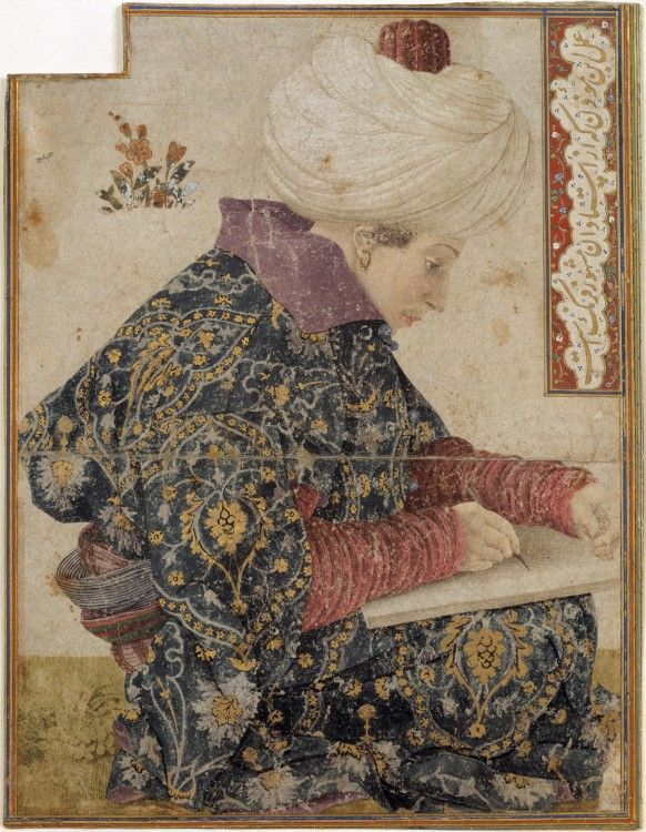 a young scribe his turban held in place by a ribbed, red taj – headgear worn in the court milieu of Ottoman sultan Mehmed II (1432–1481), who nurtured a passionate interest in portraiture and particularly in western traditions of the genre.