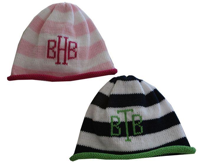 b06a146459167c striped monogrammed beanie cap | Best Baby Gifts | Beanie, Monogram ...