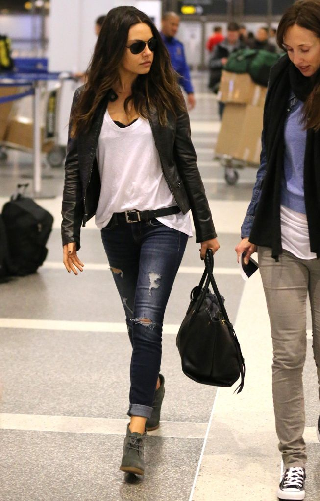mila kunis. note: heeled ankle boots with cropped/cuffed jeans. short jacket with longer top, tucked in.