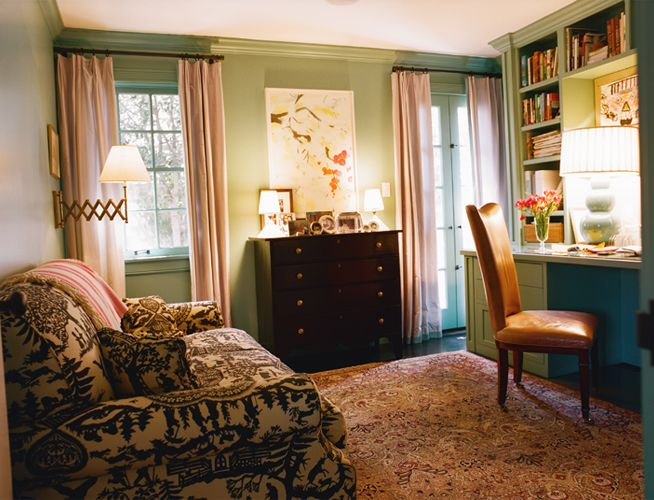 office with a sofa and pretty pink drapes - Kristen Panitch Interiors