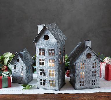 Galvanized Village Houses Potterybarn Christmas Village Houses