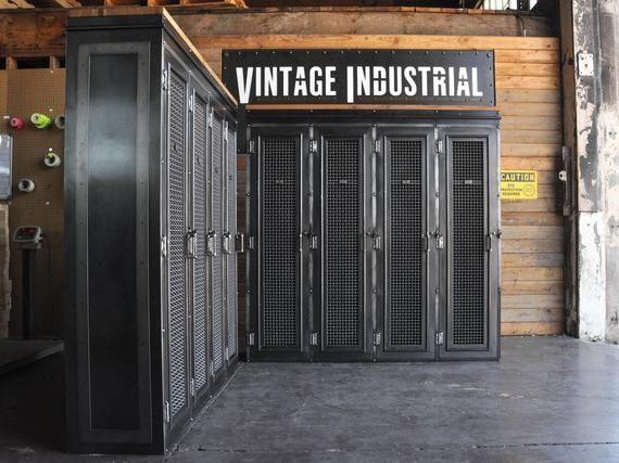 Vintage Industrial Locker / Bookcase / Mudroom Entryway Bench #vintageindustrialfurniture