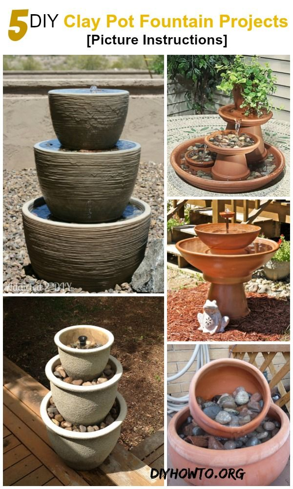 5 Diy Terra Cotta Clay Pot Fountain Projects Picture Instructions Http Www Diyhowto Org Diy Garden Fountains Diy Water Fountain Diy Garden Projects