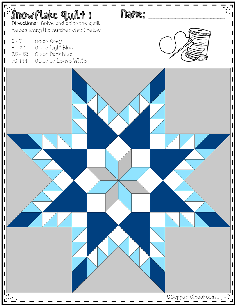 No Prep Snowflake Quilts Color by Code for Multiplication Facts up ...